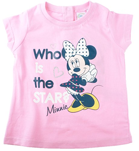 T-shirt bébé fille manches courtes Minnie 'Who is the star?' Rose 30mois