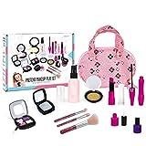 Juegos de maquillaje de fantasía para niñas, 12 piezas Kit de maquillaje de fantasía para niños Niñas Juego de imaginación Juguetes cosméticos de maquillaje Casa de juegos simulada Princesa Juguetes