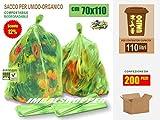 Sacchi per Raccolta del Rifiuto Umido-Organico cm 70x110 (110 litri) Scatola da N.° 200 p...