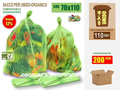 Sacchi per Raccolta del Rifiuto Umido-Organico cm 70x110 (110 litri) Scatola da N.° 200 pezzi - Biodegradabili Compostabili