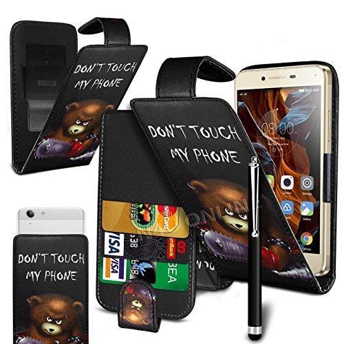 N4U Online Don't Touch Mein Handy - Bär' Bedruckt Clip auf PU Leder Klapp Hülle und Stift für Allview E4 Lite