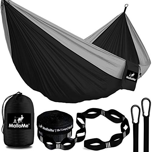 MalloMe Double amp Single Portable Camping Hammock  Parachute Lightweight Nylon with Hammok Tree Straps Set 2 Person Equipment Kids Accessories Max 1000 lbs Breaking Capacity  Free 2 Carabiners