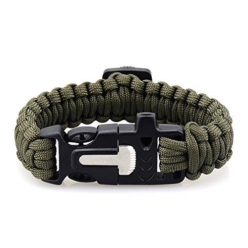 Survival Paracord Armband, YTTX Outdoor Survival Kit met Parachute Koord Gesp Kompas Flint Fire Starter Schraper Mes Fluit voor Wandelen Jacht Camping Emergency Pack van 2