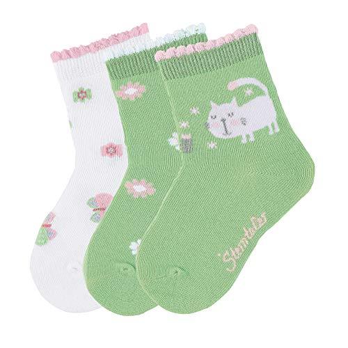 Sterntaler Mädchen Söckchen 3er-pack Katze Socken, Grün (Hellgrün 200), 3 Jahre EU