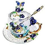 Orchid Regalo para el Día de la Madre, Recuerdo de Enfermera Barato graduación niñas Kits Fancy Tea Cup Regalo del día de San Valentín(Blue Short)
