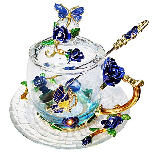 LANTREE Rose Butterfly Glass Tea Cups Coffee Mugs with Lid Spoon and Saucer Wedding Anniversary Birthday Gift for Women Mom Sister Girlfriend (Blue Short)