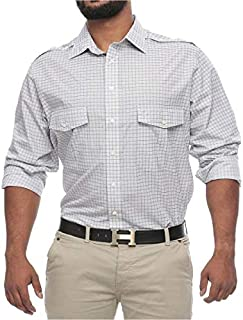 Synrgy Big and Tall Plaid Roll up Long Sleeve Shirt for Men - White and Grey