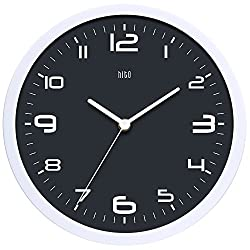 hito Silent Wall Clock Non Ticking 10 inch Excellent Accurate Sweep Movement Glass Cover, Modern Decorative for Kitchen, Living Room, Bathroom, Bedroom, Office (Dark Gray)