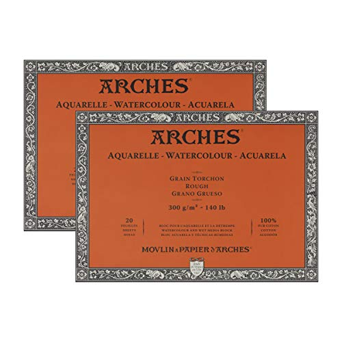 Arches Watercolor Paper Block, Rough, 9' x 12', 140 Pound - 2 Pack