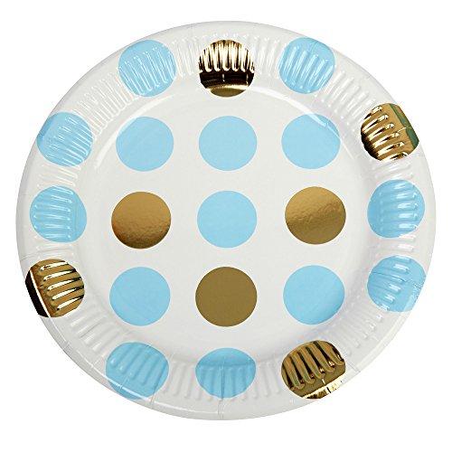 Neviti Motif Fonctionne – Assiette Pois, Bleu, Lot de 8