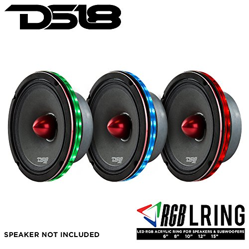 "DS18 LRING6 SPEAKER GRILL RING - Fits 6.5"" Speaker, RGB LED Lighting, Acrylic Ring, Marine Watertight Seal, Compatible with RGB Remote Module - One Ring"