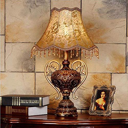 CLX Tischlampe Stoff Nachttischlampe Handgefertigte traditionelle Klassische Harz-Lampen-Palast-Art-Schreibtisch-Lampen-Zubehör Dresser,Lace