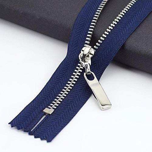3 piezas 3 # 20/25/30 cm cremallera de metal cobre diente cierre cremallera cierre ropa jeans bolsillo cremallera bolsa bolsa de accesorios reparación monedero azul marino plata, 3 #, 25 cm