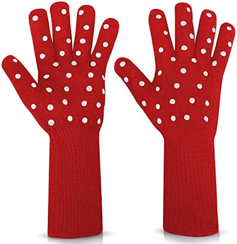 N X Women BBQ Grilling Gloves Oven Gloves 2 Pack Heat Resistant Long Sleeve Oven Mitts Fireplace product image