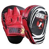 ONEX Boxing Focus Pads Punching Mitts Punch Curved Pads Strike MMA Kickboxing equipments Hook & Jab Karate Muay Thai Taekwondo Training Punch Gloves Pad (Red/Black)