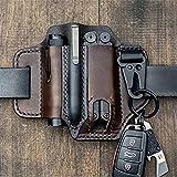 Organizador de bolsillo EDC con funda de cuero multiherramienta con porta llaves para cinturón y...