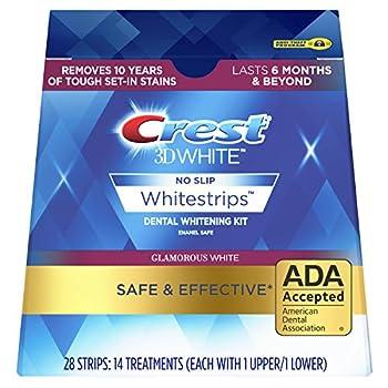 Crest 3D White Luxe Whitestrip Teeth Whitening Kit Glamorous White 14 Treatments  Each with 1 Upper/ 1 Lower  28 Strips