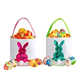 Easter Bunny Basket for Kids - Easter Tote Bag with Handle for Egg Hunting, Party, Toys, Candy,...