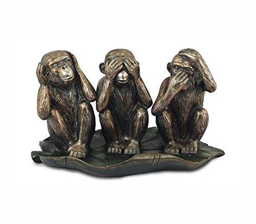G&S Statuette 3 Singes de la Sagesse en résine, L 27 cm