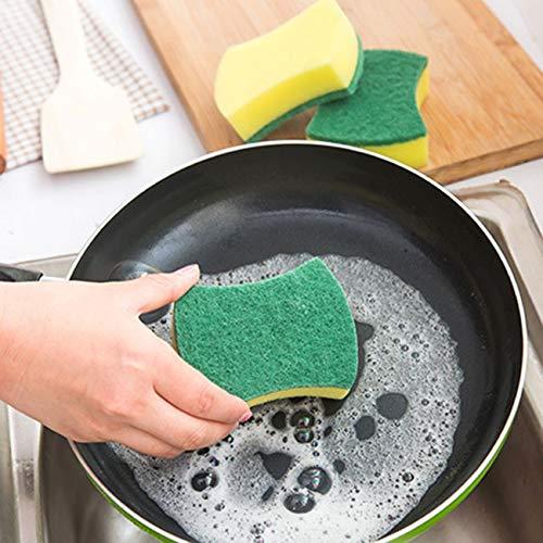 Fengzong Esponjas de catering resistentes para cocinas, baños y limpieza resistente, almohadillas estropajeras multiusos para sartenes, garaje, baño