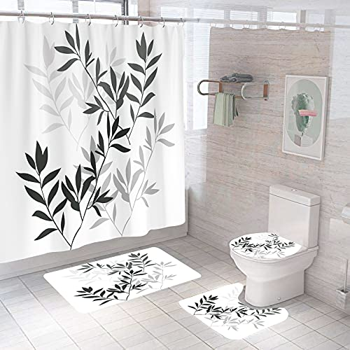 4 Piece Leaves Shower Curtains Sets with Non-Slip Rugs, Toilet Lid Cover and Bath Mat, Bathroom Sets with Shower Curtain and Rugs and Accessories