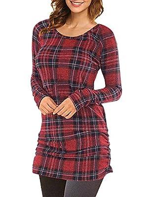 Womens Plaid Tunic Crewneck Tops Long Sleeve T Shirt Dress Ladies Slim Fit Tunics Shirts