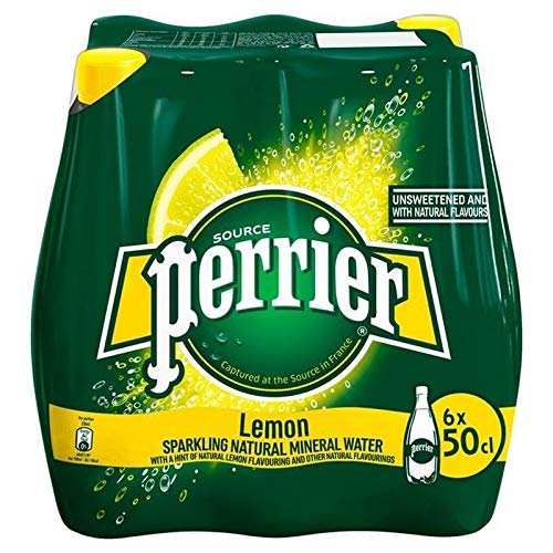 Perrier - Limón - Agua mineral carbonatada - 500 ml - Juego de 6 botellas - Agua mineral elegante, con gas y refrescante - Sin azúcar - Menos calorías - Bebida para llevar