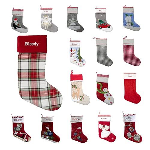 DSFSDF Medias Personalizadas con Nombre de Navidad 18 Tipos de Colores Impresión Estilo de Bordado Calcetín Familiar Medias navideñas para Colgar en Vacaciones para Decoraciones navideñas