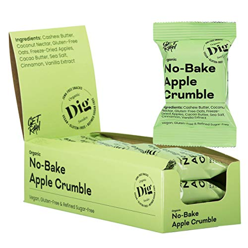 Dig/Get Raw - Bio-Streuselkuchen Apfel - Snacks aus natürlichen Bio-Zutaten - Vegan, glutenfrei und frei von Raffinadezucker (12x35g)