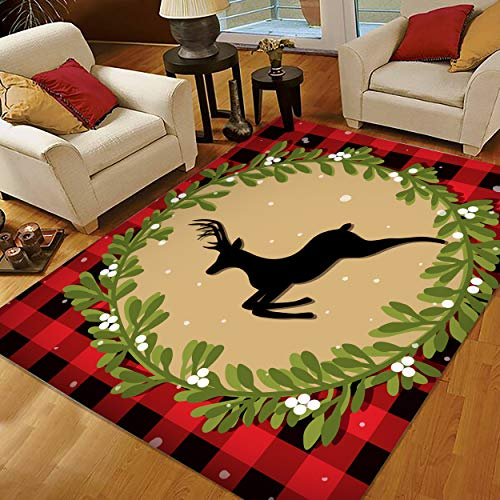 Christmas Area Rugs 5x7, Area Rugs for Living Room Bedroom, Large Area Rugs Merry Christmas Reindeer Buffalo Plaid
