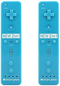 SIBIONO - Wii Remote Motion Plus Controller (2 Packs) for Nintendo Wii&Wii U Video Game Gamepads. (Blue)