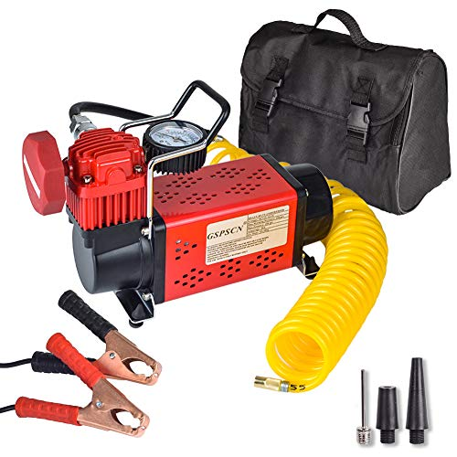 GSPSCN Portable 12V Air Compressor Pump, 150PSI Red Tire Inflator, Heavy Duty Auto Air Pump,for Car, Truck, RV, ATV, Bike,Balls,Lawn Mower and Other Inflatables