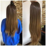 24 Inches No Front Parting Half Head Wig Long OMBRE 3/4 Weave Brown Blonde (Straight- Chocolate brown/dark blonde)