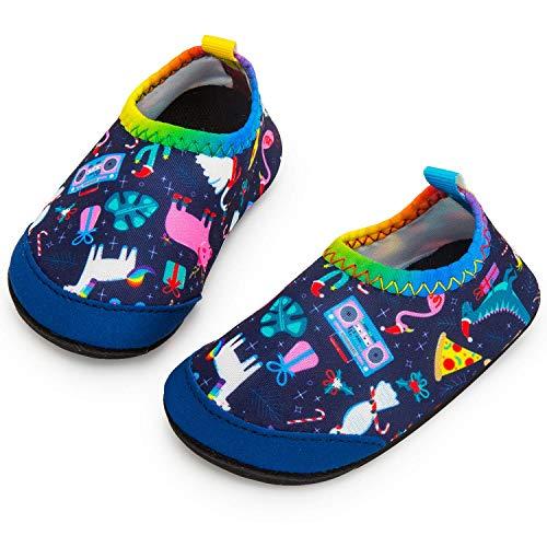 Yorgou - Zapatillas de playa para bebé, zapatos de baño, zapatos de agua, de secado rápido, antideslizantes, zapatos descalzados, para niños, piscina, color Azul, talla 29/30 EU