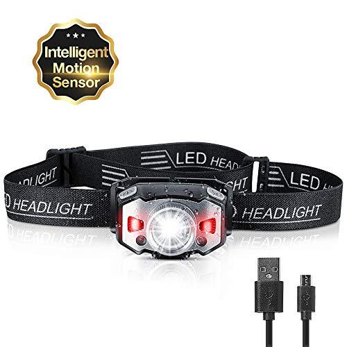 ZIONOR Stirnlampe, Zoombar Stirnlampe LED Wiederaufladbare mit Geste Sensor, Hochkompakt Wasserdicht Kopflampe mit Rotlicht für Joggen, Laufen, Campen, Angeln - 210 Lumen, 1200mAh, 58g