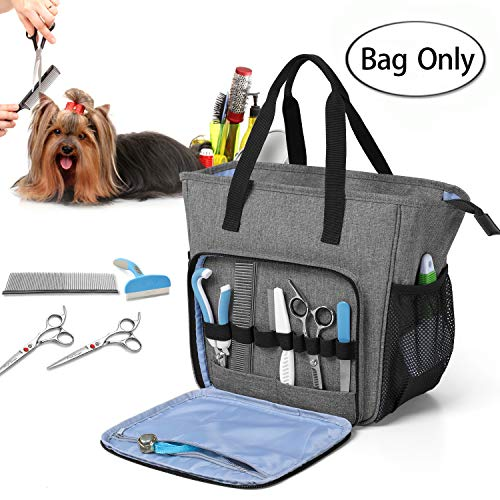 Teamoy Pet Grooming Tote, Dog Grooming Supplies Organzier Bag for Grooming Shears, Deshedding Tool, Towels, Shampoo and More, Gray