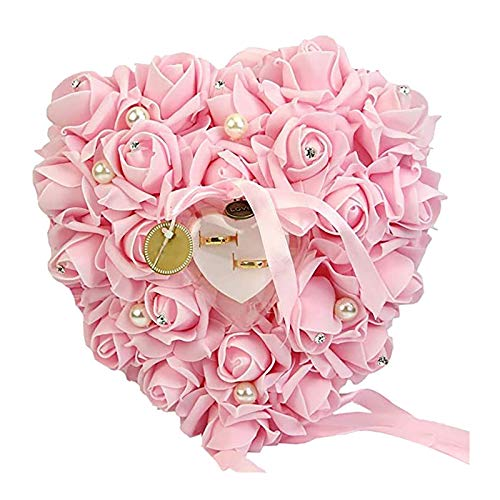 WANPENG Caja de anillo de boda en forma de corazón, soporte de anillo de boda, almohada de espuma de satén para 2 anillos, cojín de anillo de corazón rosa romántica recuerdos de boda, Plástico,