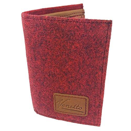 Venetto Echtleder + Filz Leder Portemonnaie Geldbörse Geldbeutel Brieftasche Damen Herren Damenbörse Damengeldbörse Herrenbörse Geldtasche Damenportemonnaie (Rot melange)