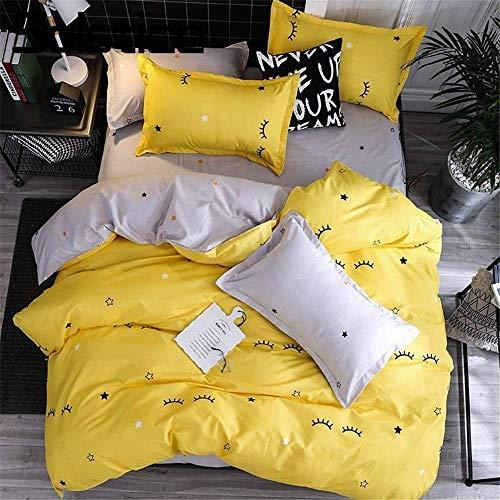 XYAZ Textiles para el hogar Amarillo Ojo Gris Juegos de Cama Simples Funda nórdica Funda de Almohada Sábana Plana Niño Adolescente Adulto Niñas Ropa de Cama,CD-1,Conjunto de Cuatro Piezas de 1,5 m