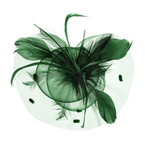 FakeFace Fascinator Hüte mit Feder Blumen Haar Clip Haarreif Haar Accessoire Netz-Mütze Schleier Tea Party Hochzeit Kirche Haarschmuck Kopfschmuck Kopfbedeckung für Frauen,grün