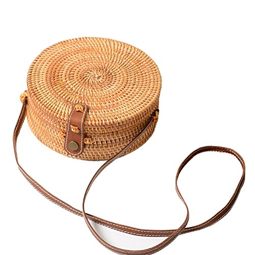 Korbtasche Bambus Handgemachte Vintage Modische Rattan Stroh Gewebte Tasche BöHmen Stil Runden Bogen Strandtasche Zuhause Aufbewahrungstasche FüR Frauen Rund Korb Runde Geflochtene Tasche