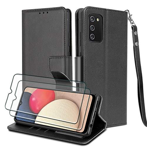 WuGlrz Funda para Samsung Galaxy A02s(No Apto para A02) con 2 Piezas Protector de Pantalla, Lujo PU...