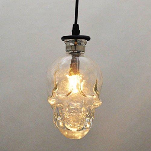 RAING Schädel Kopf Glas Kronleuchter, Loft Vintage Bar Restaurant Totenkopf Lampe E14 110V220V Breite 16C High 16Cm Hanging Länge 1M