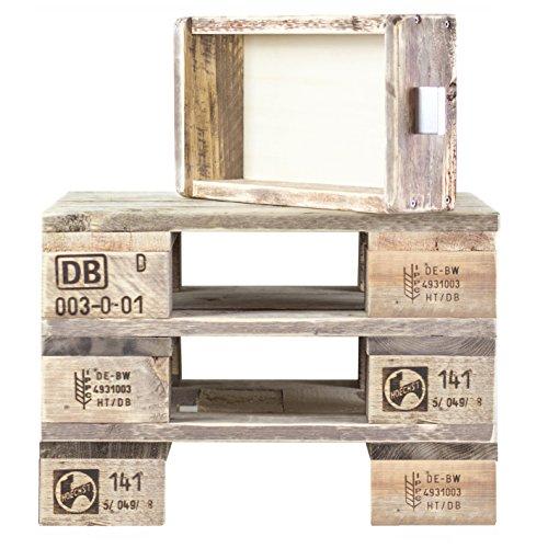 Palettenmöbel: Beistelltisch, Nachttisch Heaven, Neuholz gebeizt in klassischer Paletten Optik, jedes Teil ist einzigartig und Wird in Deutschland in Handarbeit gefertigt