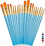 Soucolor Acrylic Paint Brushes Set, 20Pcs Round Pointed Tip Artist Paintbrushes for Acrylic Painting Oil Watercolor Canvas Boards Body Face Rock Painting Kit, Adult Kids Drawing Arts Crafts Supplies