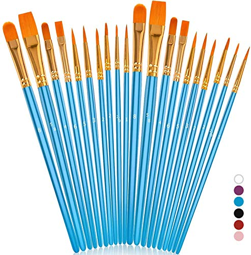 Soucolor Acrylic Paint Brushes Set, 20Pcs Round Pointed Tip Artist Paintbrushes for Acrylic Painting Oil Watercolor Canvas Boards Body Face Rock Easter Eggs, Adult Kids Drawing Arts Crafts Supplies