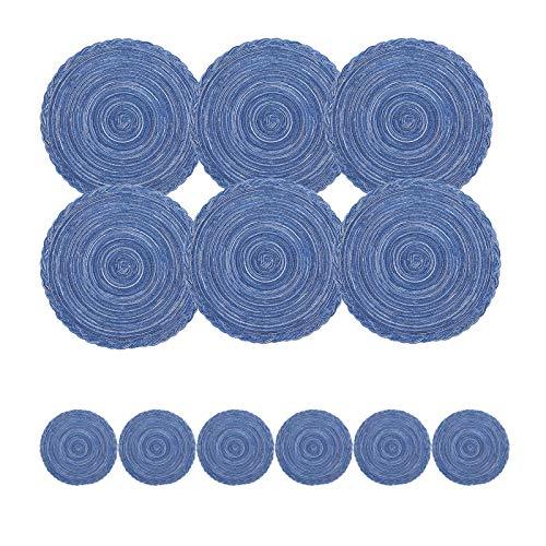 FENGLI 6 Tischsets und 6 Untersetzer, Baumwolle, rund, gewebt, rutschfest, rund, handgewebt, waschbar, hitzebeständig, groß für Küchentisch, Esstisch (Farbe: Blau 36/11 cm)