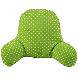 Green dotted pattern reading pillow with arms
