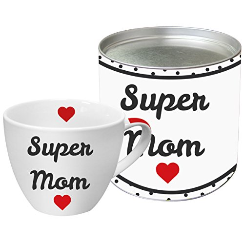 PPD Super Mom Porzellantasse, Kaffeetasse, Kaffee Becher, New Bone China, Weiß / Schwarz / Rot, 450 ml, 603067