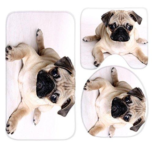 Pug Dogs Bath Mat Set,3 Piece Bathroom Mats Set Non-Slip Bathroom Rugs/Contour Mat/Toilet Cover by TEYAYA